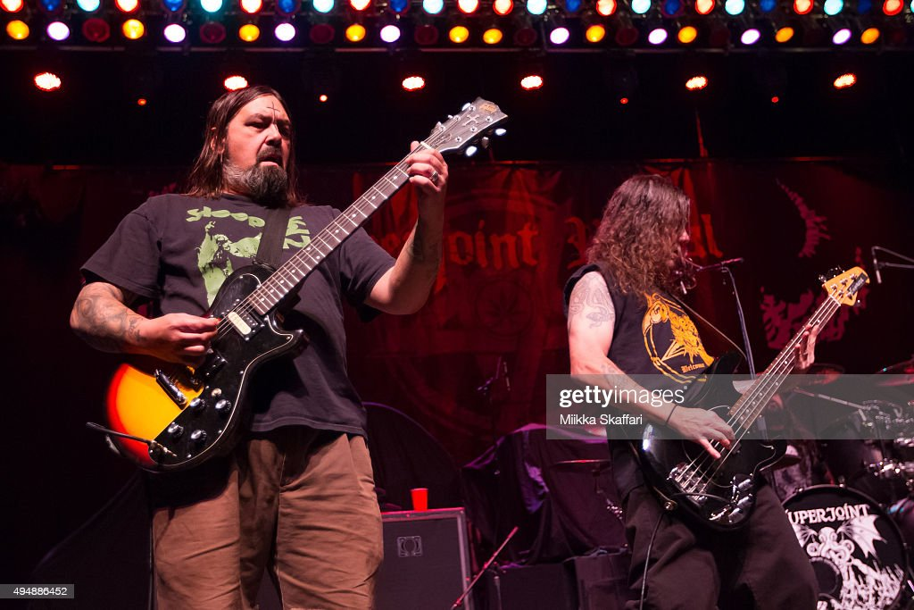 Guitarist Jimmy Bower and bassist Stephen Taylor of Superjoint perform at City National Civic on October 29, 2015 in San Jose, California.