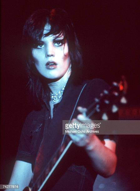 Guitarist Joan Jett of the rock band 'The Runaways' performs on stage in Los Angeles in 1976