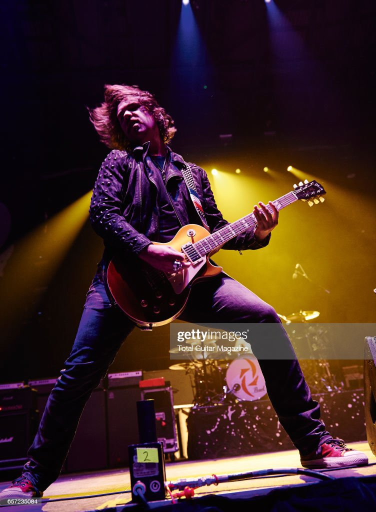 Guitarist Joe Hottinger of American hard rock group Halestorm performing live on stage at the Motorpoint Arena in Nottingham, on January 29, 2016.