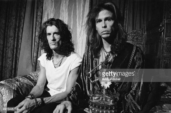 Guitarist Joe Perry and singer Steven Tyler of American rock group Aerosmith circa 2005