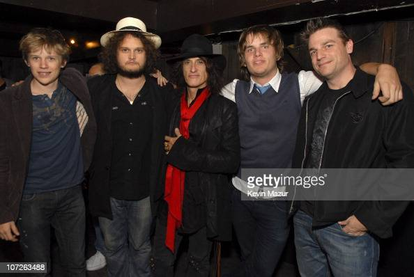 Guitarist Joe Perry backstage with his sons Roman Adrian Tony and Aaron before his performance with sons Adrian Perry and Tony Perry and their band...