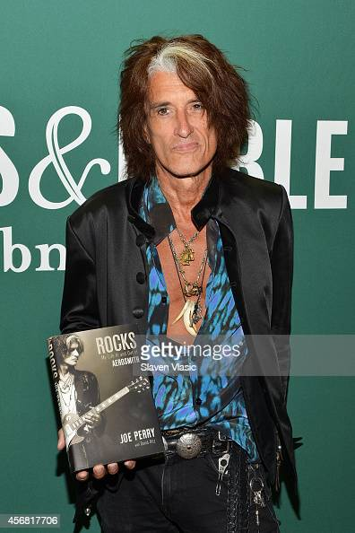 Guitarist Joe Perry of Aerosmith promotes his book 'Rocks My life in and out of Aerosmith' at Barnes Noble Union Square on October 7 2014 in New York...