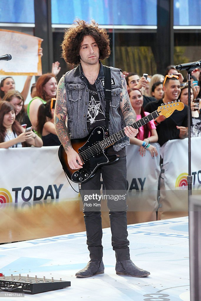 Guitarist <a gi-track='captionPersonalityLinkClicked' href=/galleries/search?phrase=Joe+Trohman&family=editorial&specificpeople=557077 ng-click='$event.stopPropagation()'>Joe Trohman</a> of Fall Out Boy performs on NBC's 'Today' at the NBC's TODAY Show on July 19, 2013 in New York, New York.