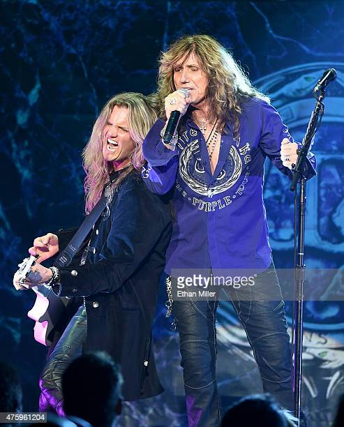 Guitarist Joel Hoekstra and singer David Coverdale of Whitesnake perform at The Joint inside the Hard Rock Hotel Casino as the band tours in support...