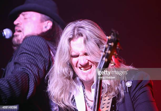 Guitarist Joel Hoekstra of TransSiberian Orchestra performs onstage during an exclusive performance at The iHeartRadio Theater in New York at...