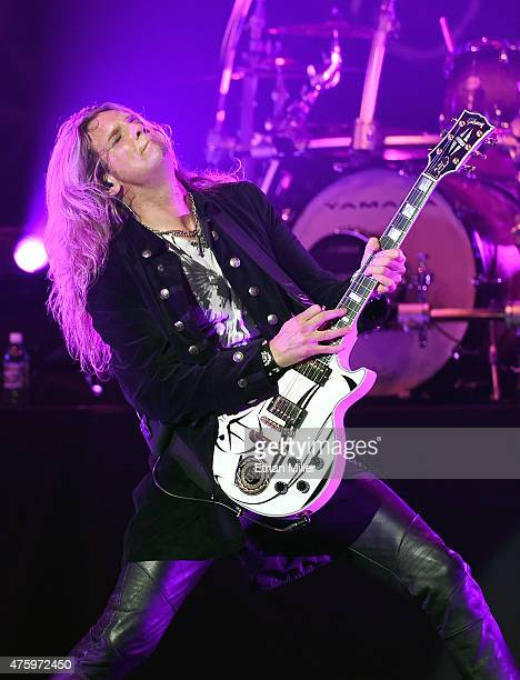 Guitarist Joel Hoekstra of Whitesnake performs at The Joint inside the Hard Rock Hotel Casino as the band tours in support of 'The Purple Album' on...