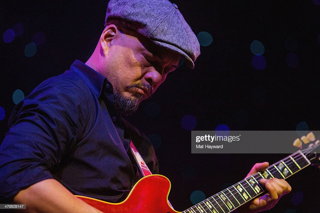 Guitarist Joey Santiago of the Pixies performs on stage during an EndSession hosted by 107.7 The End at the Triple Door Theater on February 19, 2014 in Seattle, Washington.