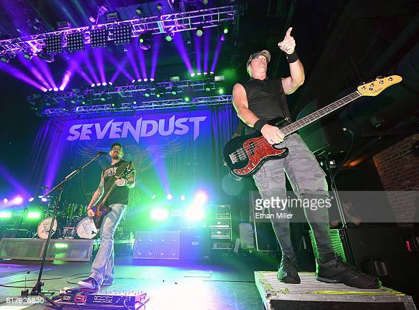 Guitarist John Connolly and bassist Vince Hornsby of Sevendust perform during a stop of the band's Kill the Flaw tour at Brooklyn Bowl Las Vegas at...
