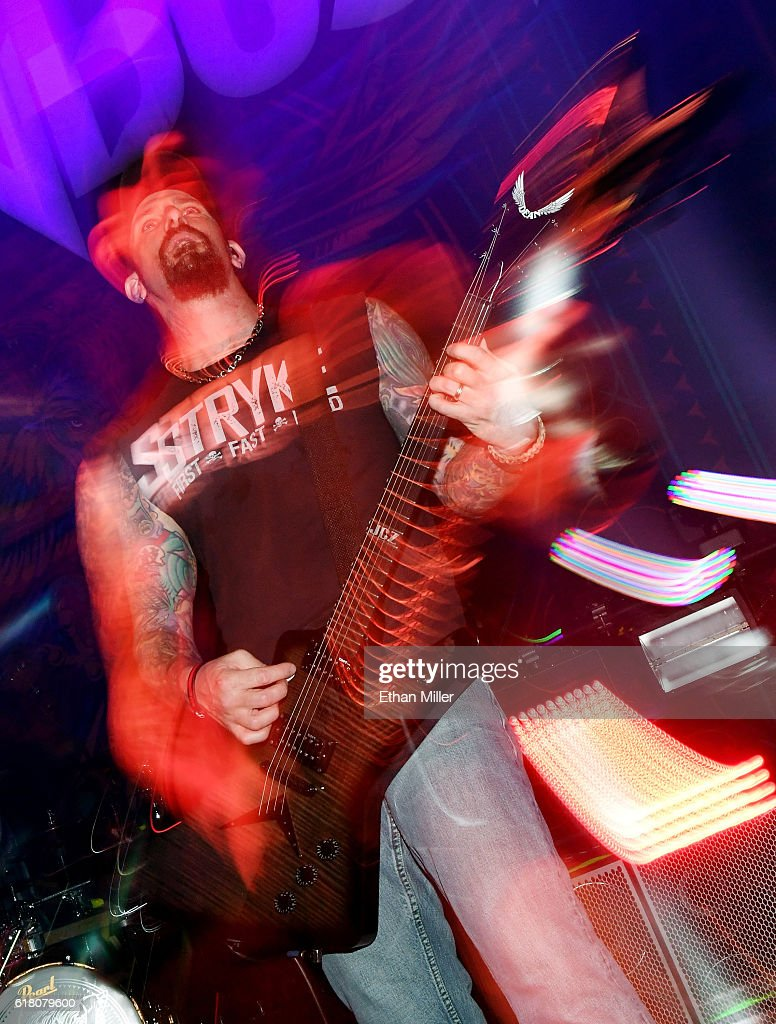 Guitarist John Connolly of Sevendust performs during a stop of the band's Kill the Flaw tour at Brooklyn Bowl Las Vegas at The Linq Promenade on October 24, 2016 in Las Vegas, Nevada.