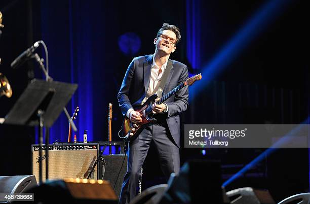 Guitarist John Mayer appears at the Thelonius Monk Jazz Trumpet Competition and All Star Gala Concert at Dolby Theatre on November 9 2014 in...