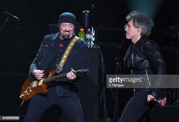 Guitarist John Shanks and Jon Bon Jovi of Bon Jovi perform during the 'This House Is Not for Sale' Tour at SAP Center on March 1 2017 in San Jose...