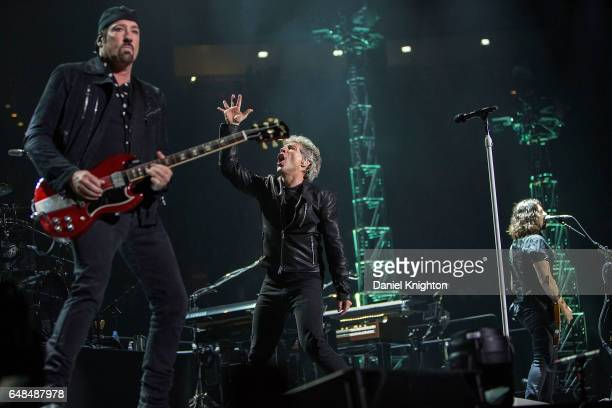 Guitarist John Shanks Jon Bon Jovi and guitarist Phil X of Bon Jovi perform on stage during the 'This House Is Not For Sale' Tour at Viejas Arena on...