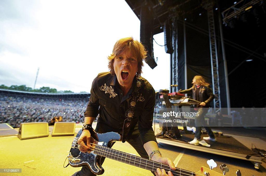 Guitarist Jon Levin of Swedish hard rock band Europe live in Stockholm, 2010.