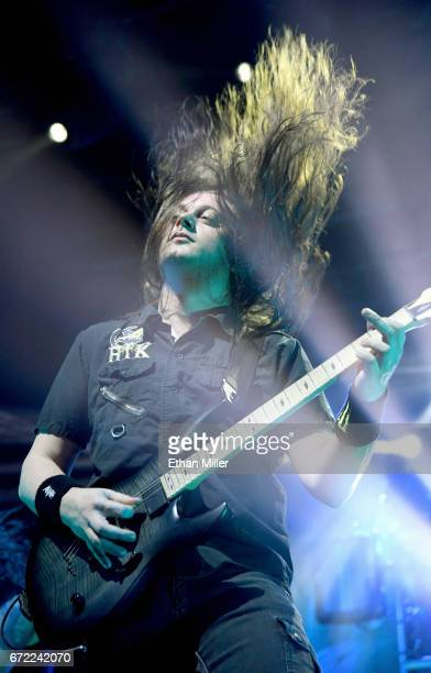 Guitarist Jonathan Donais of Anthrax performs during the Las Rageous music festival at the Downtown Las Vegas Events Center on April 21 2017 in Las...