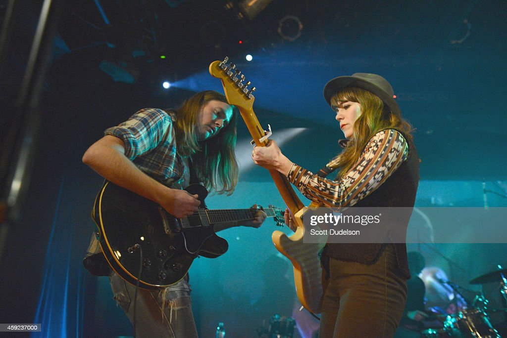 Guitarist Jonathan Rice and Rilo Kiley singer Jenny Lewis perform on stage at the Fun Lovers Unite! A Benefit for Moms Demand Action at the Echoplex on November 18, 2014 in Los Angeles, California.