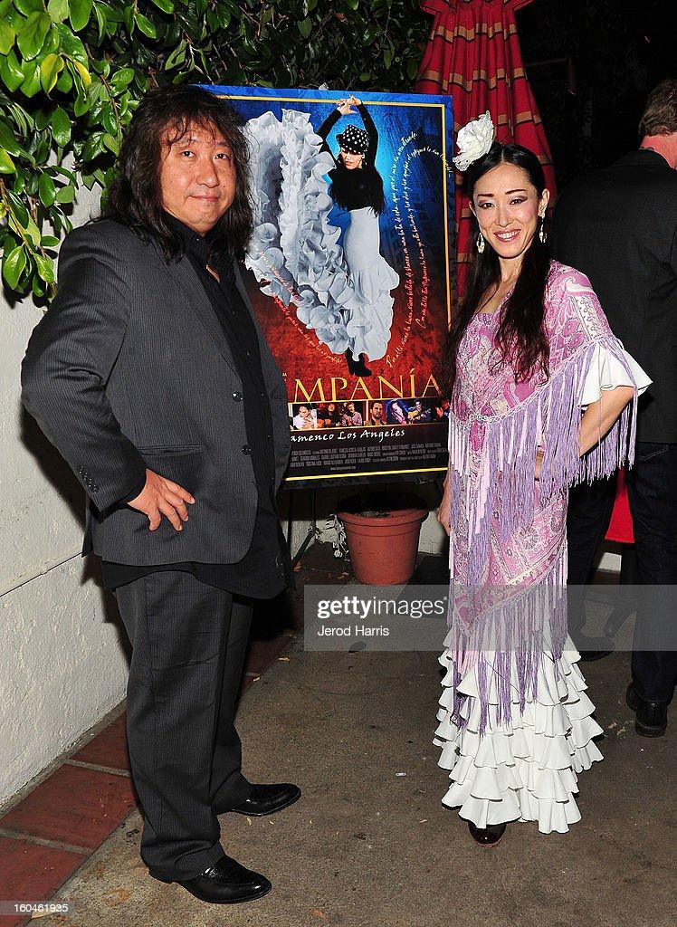 Guitarist Jose Tanaka and flamenco dancer Mizuho Sato arrive at the premiere of 'Kumpania: Flemenco Los Angeles' at El Cid on January 31, 2013 in Los Angeles, California.
