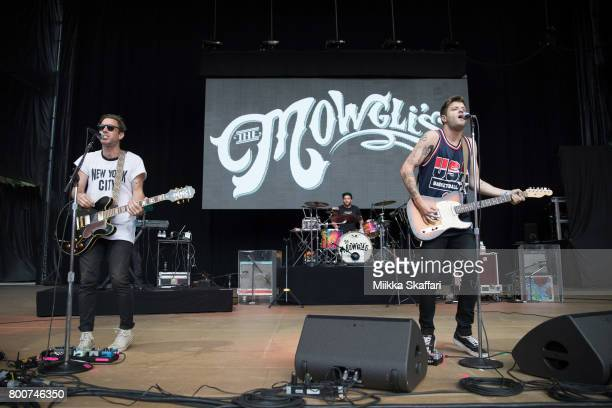 Guitarist Josh Hogan drummer Andy Warren and vocalist Colin Louis Dieden of The Mowgli's perform at ID10T festival at Shoreline Amphitheatre on June...