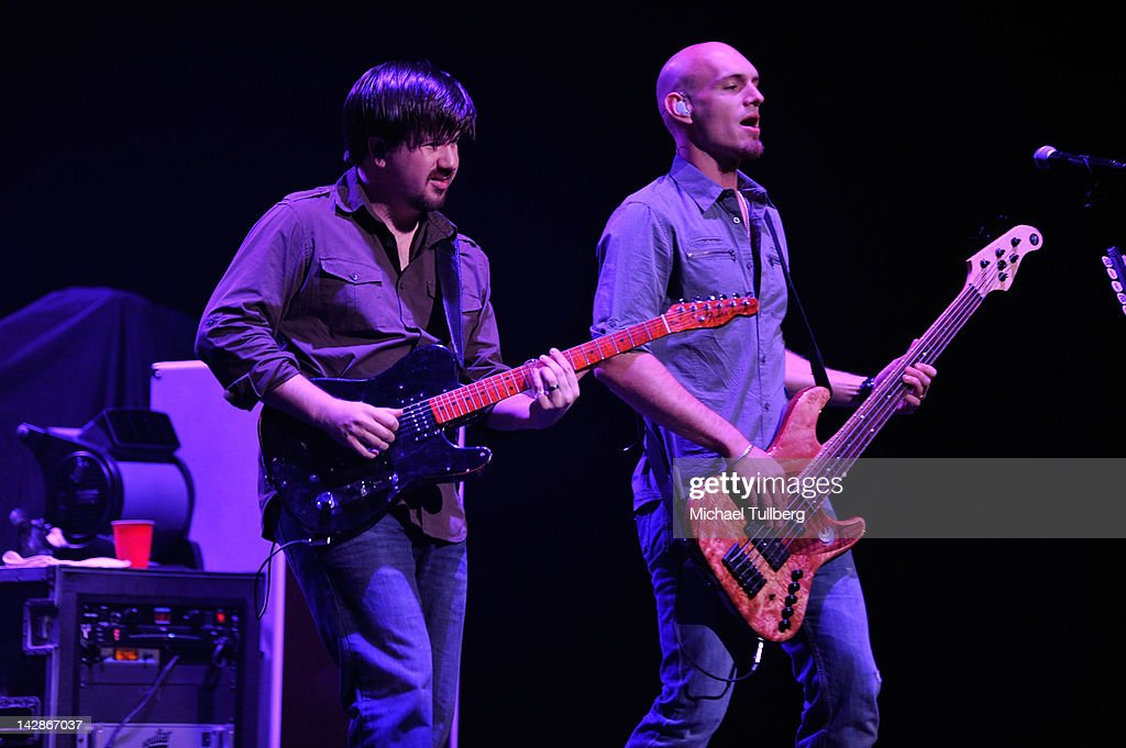Guitarist <a gi-track='captionPersonalityLinkClicked' href=/galleries/search?phrase=Keith+Davis&family=editorial&specificpeople=580211 ng-click='$event.stopPropagation()'>Keith Davis</a> and bassist Jon Jones of the Eli Young Band perform live at Nokia Theatre L.A. Live on April 13, 2012 in Los Angeles, California.