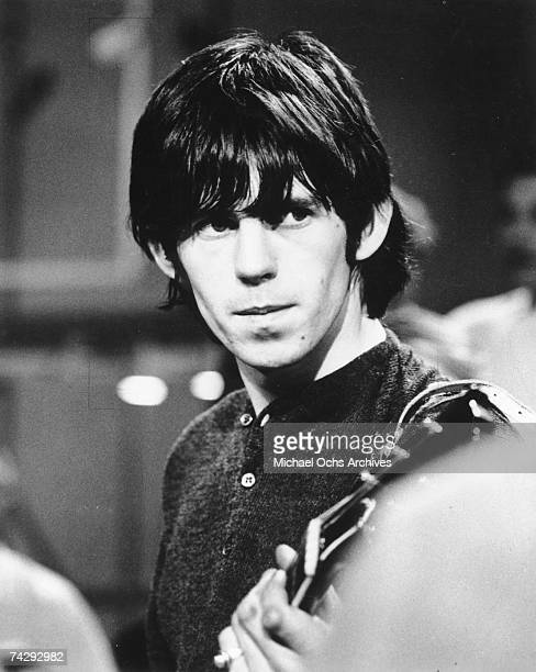 Guitarist Keith Richards of the rock band 'the Rolling Stones' rehearses for their performance on the TAMI Show on October 28 1964 at the Santa...
