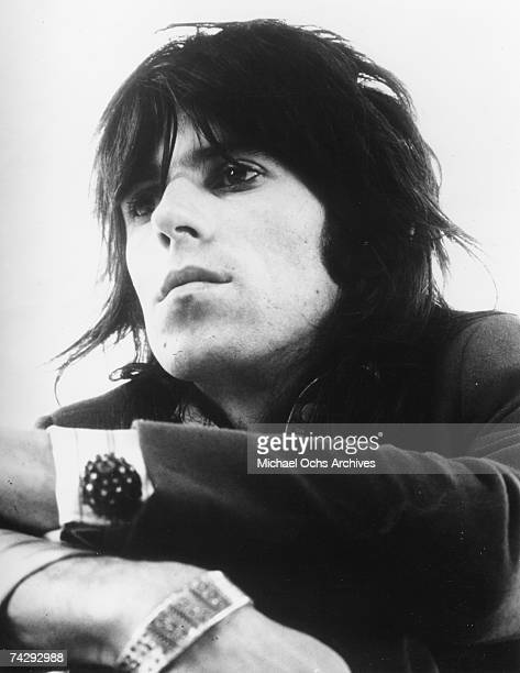 Guitarist Keith Richards of the rock band 'the Rolling Stones' poses for a portrait in circa 1974