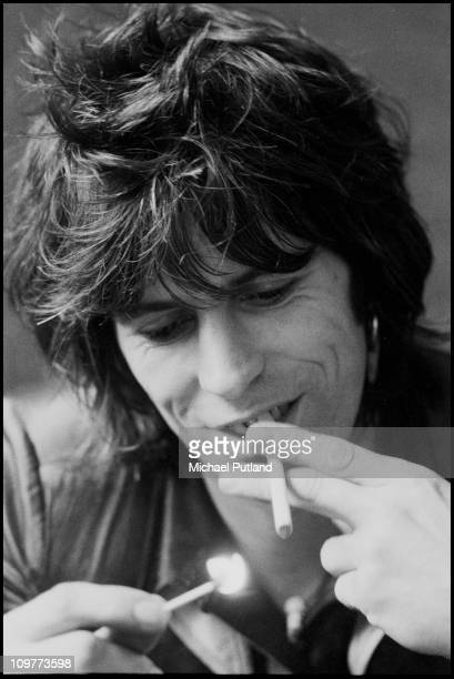 Guitarist Keith Richards of the Rolling Stones during an interview at Atlantic Records in London England in August 1974