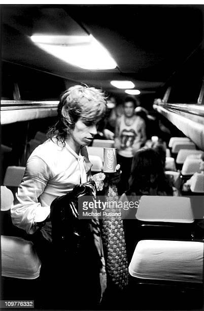 Guitarist Keith Richards of the Rolling Stones on the bands tour bus in Scotland in May 1976