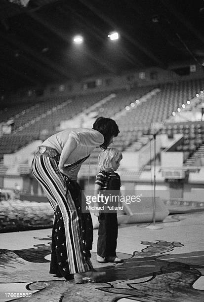 Guitarist Keith Richards of the Rolling Stones with his son Marlon during a soundcheck at Wembley Empire Pool London 7th September 1973