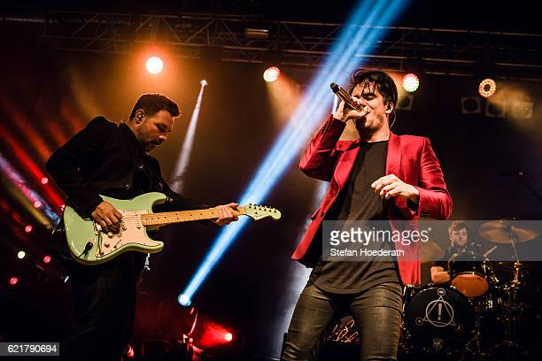 Guitarist Kenneth Harris and singer Brendon Urie of Panic At The Disco perform live on stage during a concert at Huxleys Neue Welt on November 8 2016...