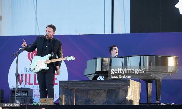 Guitarist Kenneth Harris performs with recording artist Brendon Urie of Panic at the Disco onstage during the 2016 Daytime Village at the iHeartRadio...