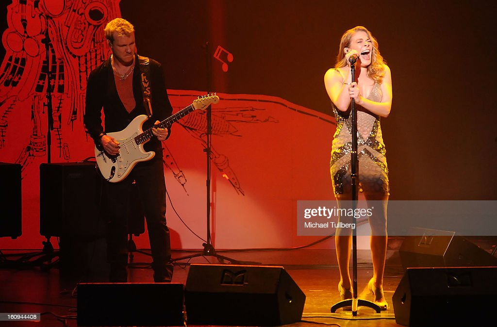 Guitarist <a gi-track='captionPersonalityLinkClicked' href=/galleries/search?phrase=Kenny+Wayne+Shepherd&family=editorial&specificpeople=829913 ng-click='$event.stopPropagation()'>Kenny Wayne Shepherd</a> and singer Leann Rimes perform live at the 15th Annual GRAMMY Foundation Music Preservation Project's 'Play It Forward: A Celebration Of Music's Evolution And Influencers' at Saban Theatre on February 7, 2013 in Beverly Hills, California.