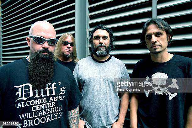 Guitarist Kerry King Jeff Hanneman bassist and singer Tom Araya and drummer Dave Lombardo of American rock band Slayer in London England on August 24...