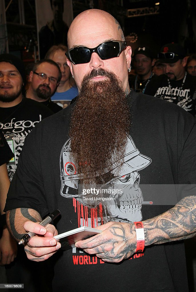Guitarist Kerry King of Slayer attends the 2013 NAMM Show - Day 2 at the Anaheim Convention Center on January 25, 2013 in Anaheim, California.