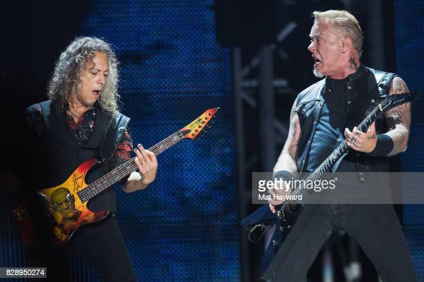 Guitarist Kirk Hammett and singer James Hetfield of Metallica perform on stage at CenturyLink Field on August 9 2017 in Seattle Washington