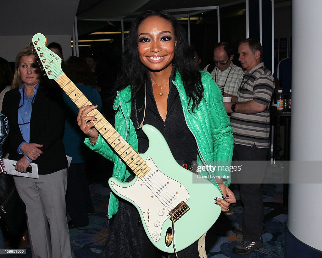 Guitarist <a gi-track='captionPersonalityLinkClicked' href=/galleries/search?phrase=Malina+Moye&family=editorial&specificpeople=797314 ng-click='$event.stopPropagation()'>Malina Moye</a> attends the 2013 NAMM Show - Media Preview Day at the Anaheim Convention Center on January 23, 2013 in Anaheim, California.