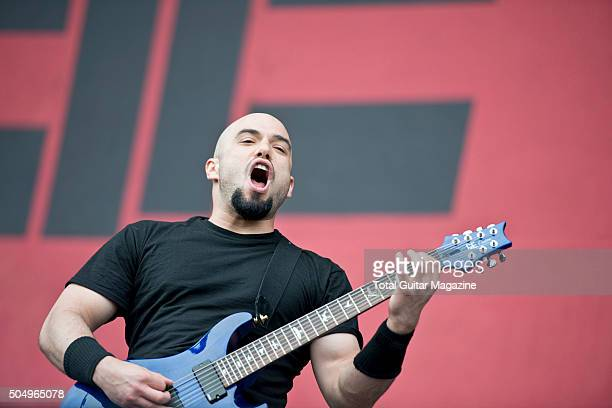 Guitarist Marc Rizzo of heavy metal group Cavalera Conspiracy performing live on stage at Download Festival on June 14 2015
