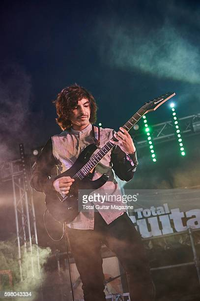 Guitarist Mario Camarena of American progressive rock group Chon performing live on stage at ArcTanGent Festival in Somerset on August 21 2015