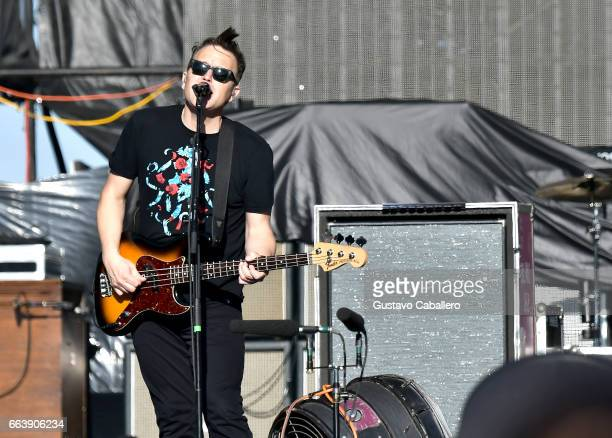 Guitarist Mark Hoppus of Blink182 performs at the Capital One JamFest during the NCAA March Madness Music Festival 2017 on April 2 2017 in Phoenix...