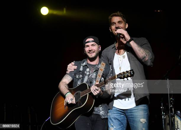 Guitarist Matt Ferranti and singer Brett Young perform during the ACM Party For A Cause The Joint at The Joint inside the Hard Rock Hotel Casino on...