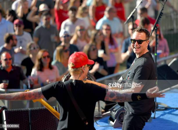 Guitarist Matt Skiba and Guitarist Mark Hoppus of Blink182 perform at the Capital One JamFest during the NCAA March Madness Music Festival 2017 on...