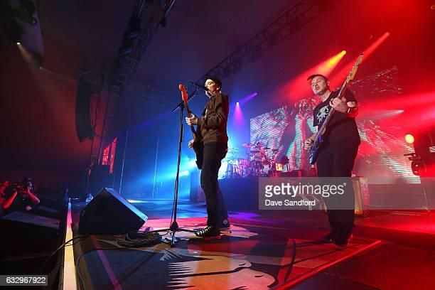 Guitarist Matt Skiba drummer Travis Barker and bass guitarist Mark Hoppus of the band Blink182 perform at the 2017 NHL AllStar Saturday Night Party...