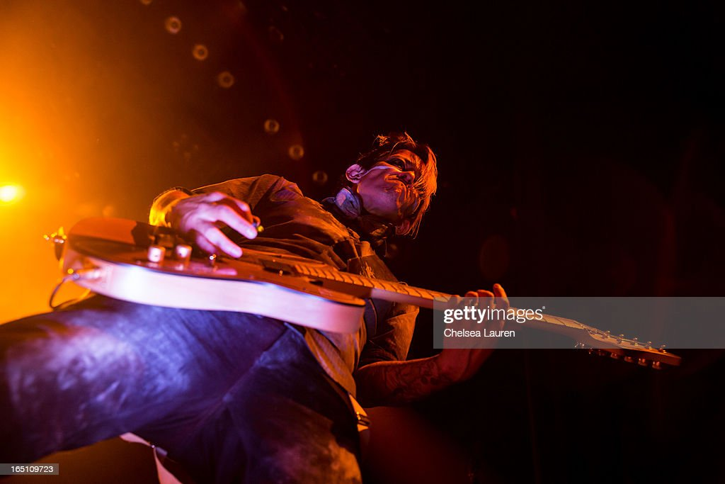 Guitarist Meegs Rascon of Coal Chamber performs at Club Nokia on March 29, 2013 in Los Angeles, California.