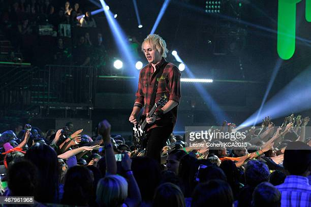 Guitarist Michael Clifford of 5 Seconds of Summer performs onstage during Nickelodeon's 28th Annual Kids' Choice Awards held at The Forum on March 28...