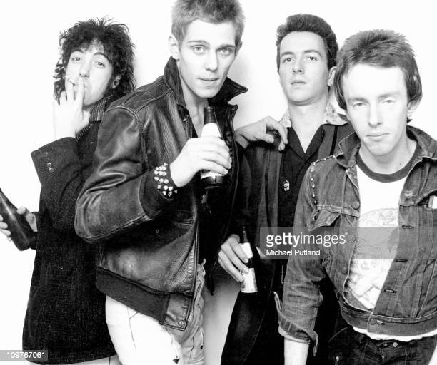 Guitarist Mick Jones bassist Paul Simonon singer Joe Strummer and drummer Nicky 'Topper' Headon of British punk group The Clash in New York in 1978