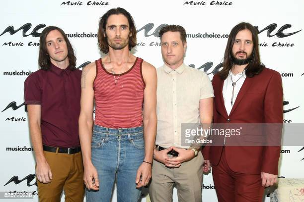 Guitarist Mike Kennerty lead singer Tyson Ritter percussionist Chris Gaylor and guitarist Nick Wheeler of The AllAmerican Rejects visit at Music...