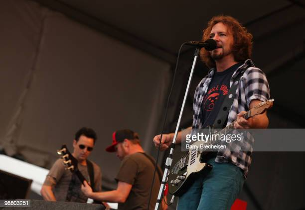 Guitarist Mike McCready bassist Jeff Ament and singer Eddie Vedder of Pearl Jam perform during Day 6 of the 41st annual New Orleans Jazz Heritage...