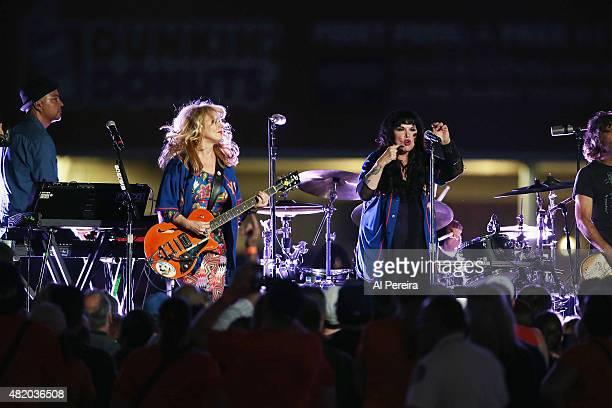 Guitarist Nancy Wilson and Vocalist Ann Wilson and Heart perform at Citi Field on July 25 2015 in the Queens borough of New York City