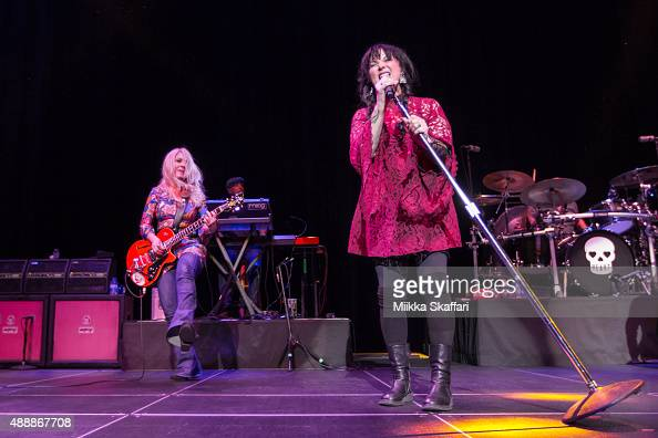 Guitarist Nancy Wilson and vocalist Ann Wilson of Heart perform at The Masonic Auditorium on September 17 2015 in San Francisco California