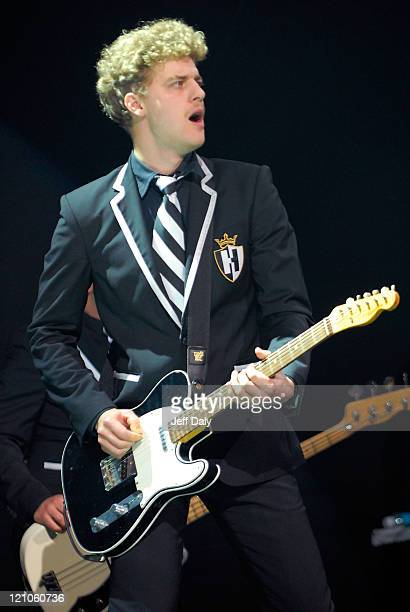 Guitarist Nicholaus Arson of the Swedish rock band The Hives performs live at the Bank Atlantic Center on October 20 2007 in Sunrise Florida