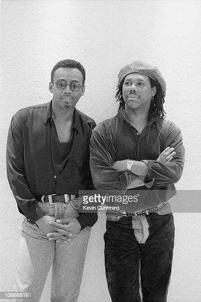 Guitarist Nile Rodgers and bassist Bernard Edwards of American RB band Chic circa 1985