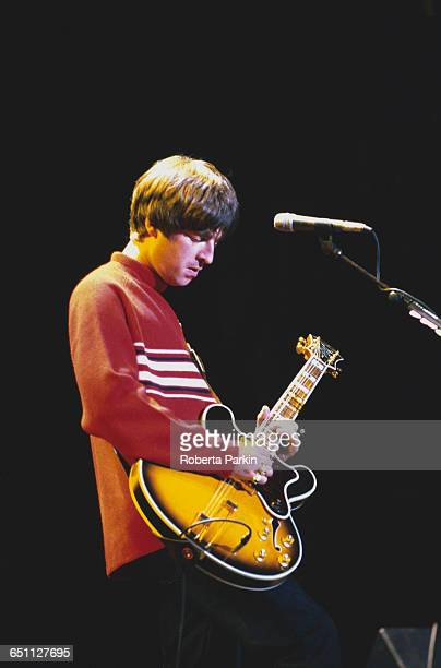 Guitarist Noel Gallagher performing with Oasis on one of two nights at Knebworth House Hertfordshire 10th11th August 1996